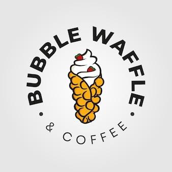 香港バブルワッフルのロゴのテンプレート。カフェのロゴ