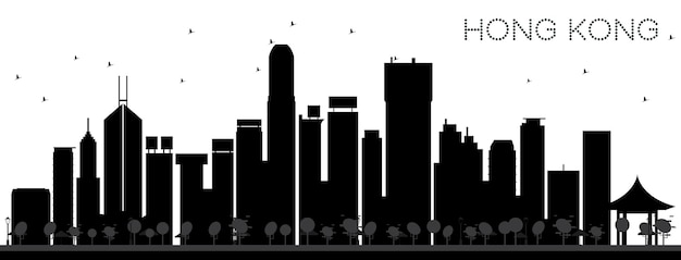 Hong kong china city skyline black and white silhouette. simple flat concept for tourism presentation, banner, placard or web site. hong kong cityscape with landmarks. vector illustration.
