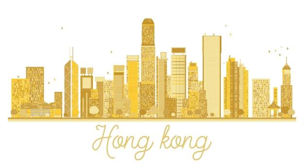 홍콩 중국 도시 스카이 라인 황금 실루엣입니다. 벡터 일러스트 레이 션.