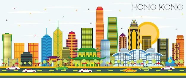 색상 건물과 푸른 하늘이 있는 홍콩 중국 도시의 스카이라인. 벡터 일러스트 레이 션. 현대 건축과 비즈니스 여행 및 관광 개념입니다. 랜드마크가 있는 홍콩 풍경.