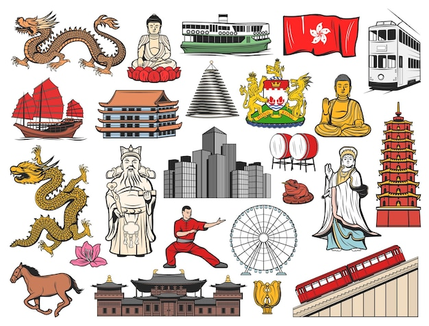 Hong kong and china travel icons with flag, bauhinia flower, buddha, temple and pagoda buildings. dragon, peak tram and skyscrapers, coat of arms
