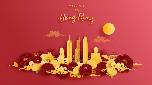 Hong kong, china world famous landmark in gold and red background. paper cut  .