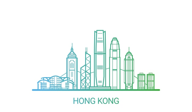 Hong kong city colored gradient line