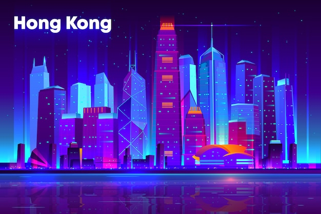 Hong kong city nightlife cartoon  banner, poster template.