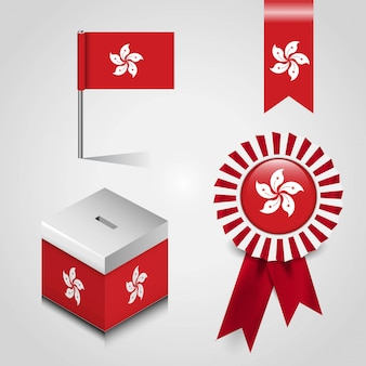 投票箱、リボンバッジの香港国旗旗バナーと地図ピン
