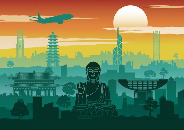 Hong kong famous landmark silhouette