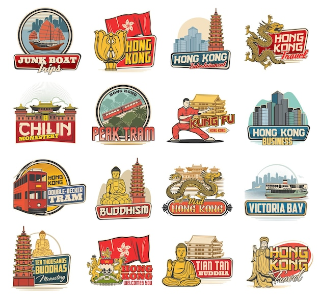 Hong kong icons with chinese travel landmarks, religion and culture symbols