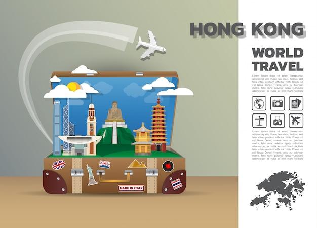 Hong kong landmark global travel and journey infographic luggage.3d design