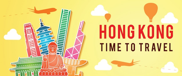 Hong kong landmark silhouette colorful style