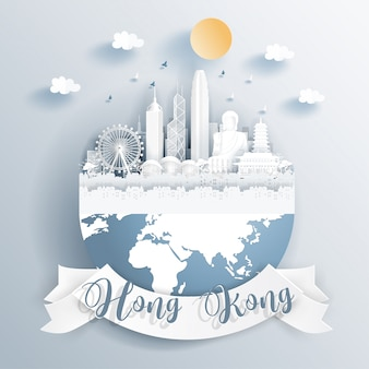 Hong kong landmarks on earth