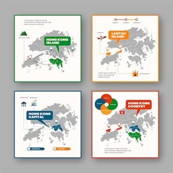 フラットなデザインの香港地図インフォグラフィック