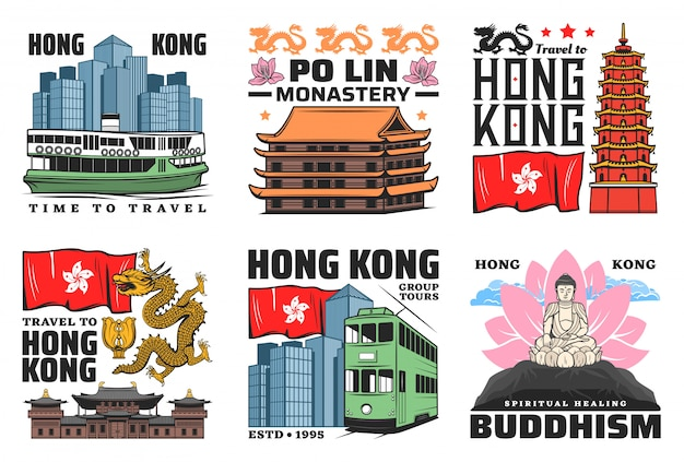 Hong kong travel landmark icons