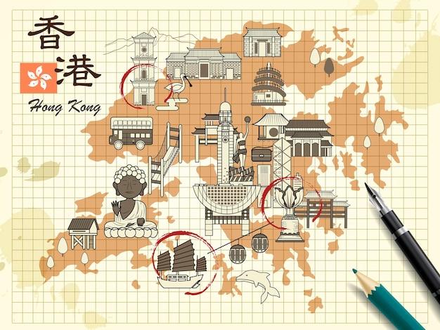 Карта путешествий по гонконгу на почтовой бумаге - верхний левый заголовок - путешествие по гонконгу на китайском языке.