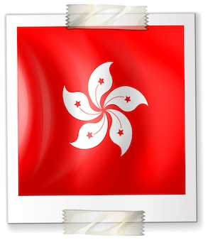 Hongkong flag on square paper