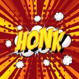 Honk wording comic speech bubble on burst