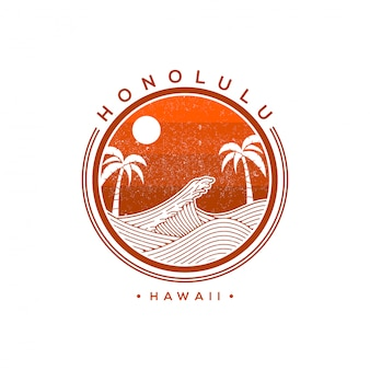 Honolulu hawaii vector logo illustration