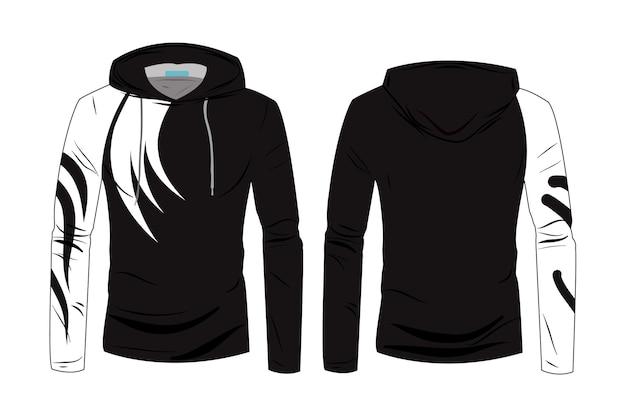 フードジャケットコートテンプレート。スポーツウォーキング用の綿と長袖のスウェットシャツカジュアル服。トラックの正面図と背面図のファッションテクニカルスケッチパーカー。