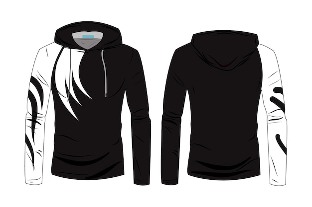 Hood jacket coat template. sweatshirt casual clothes with cotton and  long sleeve for sports walking.  fashion technical sketch hoodie with track front and back view.