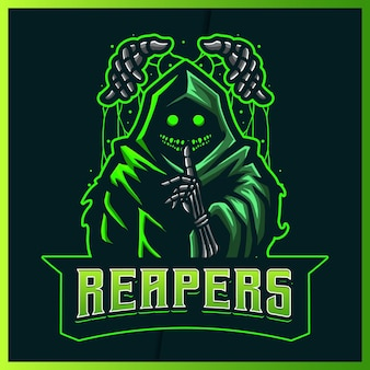 Hood puppet reaper 글로우 그린 컬러 esport 및 스포츠 마스코트 로고 디자인