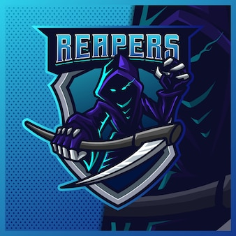 Hood reaper светится синим цветом киберспорт и дизайн логотипа спортивного талисмана.