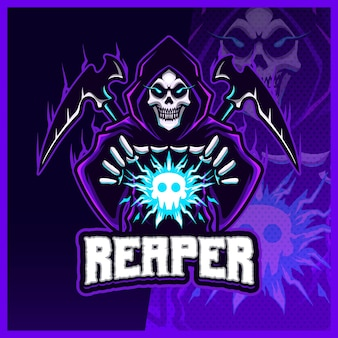 Hood reaper glow blue color esport and sport mascot logo design with modern illustration concept for