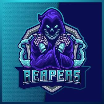 Дизайн логотипа киберспорта и спортивного талисмана hood reaper с современной иллюстрацией. злая иллюстрация