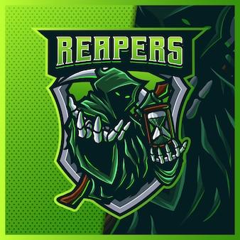 フードリーパーグローグリーンカラーeスポーツとスポーツマスコットのロゴデザイン