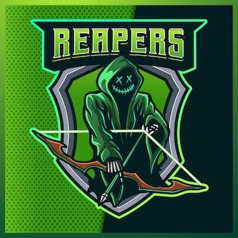 フードリーパーグローグリーンカラーeスポーツマスコットロゴ