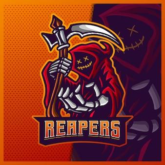 Дизайн логотипа талисмана hood reaper красного цвета киберспорта и спорта