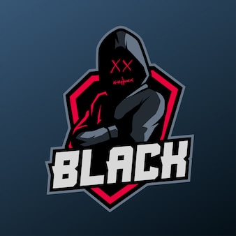 Hooded man mascot for sports and esports logo isolated on dark background