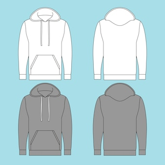 Hooded pullover sweatshirt with two different colors