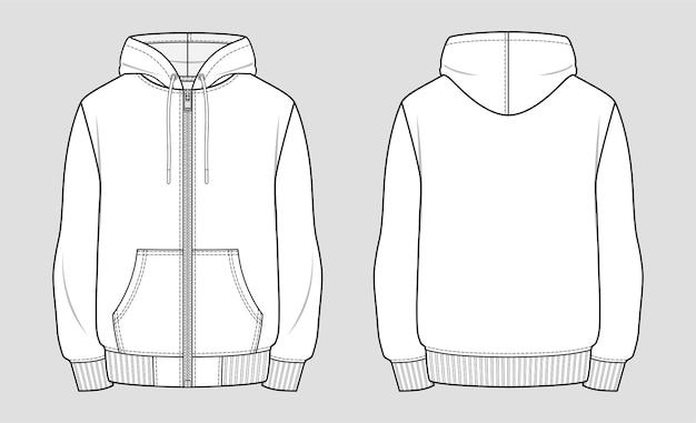 지퍼가 달린 후드 스웨트 재킷. 옷의 기술 스케치.