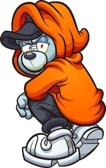 Плюшевый мишка с капюшоном на коленях, оглядываясь назад
