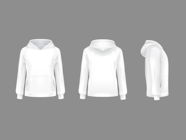 Hoodie толстовка белый 3d реалистичный шаблон макета.