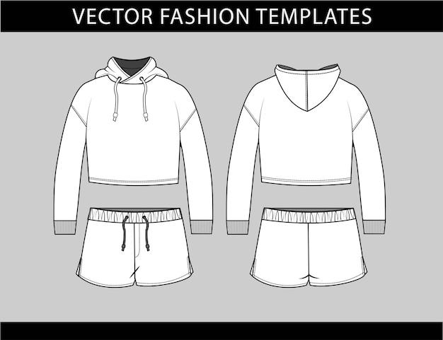 パーカーとショートパンツファッションフラットスケッチテンプレート、スポーツウェアの服