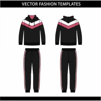 Эскиз плоской модели с капюшоном и спортивные штаны, спортивный костюм спереди и сзади, спортивный костюм
