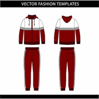 パーカーとスウェットパンツファッションフラットスケッチテンプレート、ジョギングの服の前面と背面、スポーツ摩耗の服