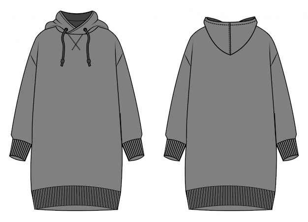 Hoodie dress  fashion flat sketch template