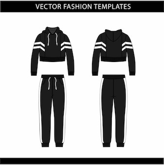 Hoodie and pants fashion flat sketch template, jogging outfit front and back, sport wear outfit