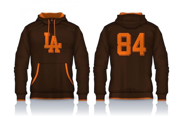 Шаблон рубашки с капюшоном. дизайн куртки, спортивная одежда трек спереди и сзади.