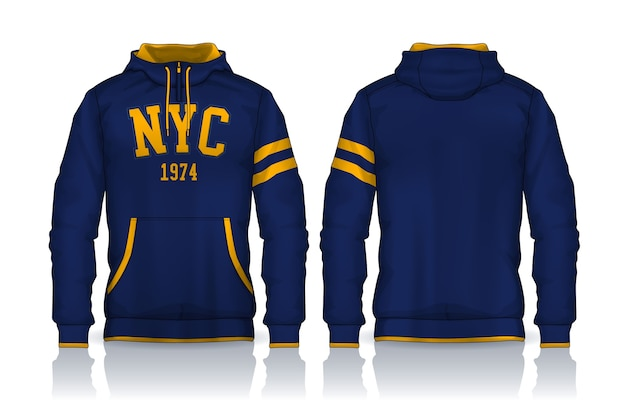 パーカーシャツテンプレート。ジャケットデザイン、スポーツウェアトラックの正面図と背面図。