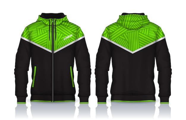 Шаблон рубашки с капюшоном. дизайн куртки, спортивная одежда. вид спереди и сзади.