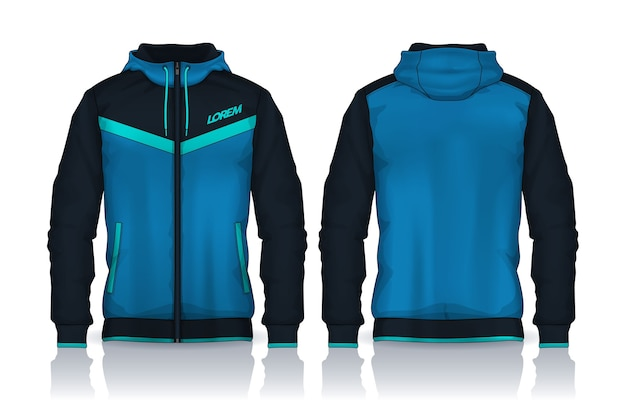 Hoodie shirts template.jacket design,sportswear track front and back view.