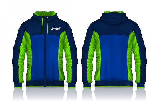 Hoodie shirts template.jacket design, sportswear track front and back view.