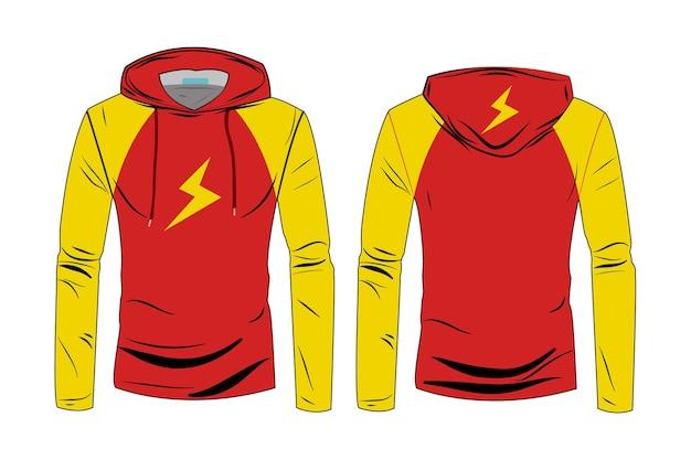 パーカーシャツのテンプレート。長袖スポーツパーカージャケットのデザイン。男性と女性のための冬のジャケット。トラックの正面図と背面図のファッションテクニカルスケッチパーカー。