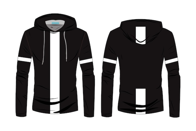 Hoodie shirts template. long sleeve sports hoodie jacket design. winter jacket for men and women. fashion technical sketch hoodie with track front and back view.