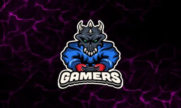 Шаблон логотипа киберспорта с капюшоном skull gaming mascot