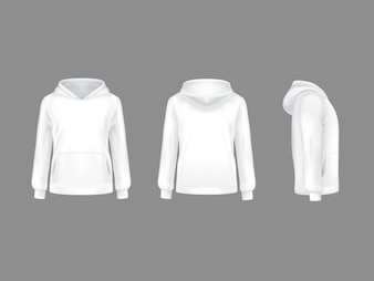 Hoodie vectors photos and psd files free download hoodie sweatshirt white 3d realistic mockup template maxwellsz