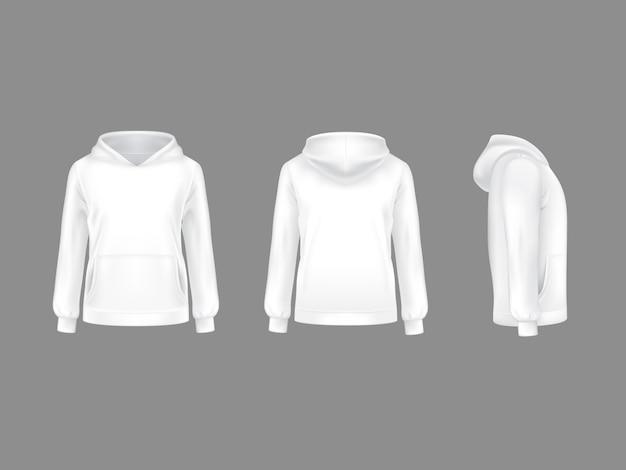 Hoodie sweatshirt white 3d realistic mockup template.
