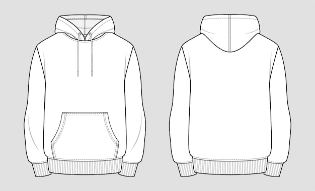 Hoodie. technical sketch of clothes.